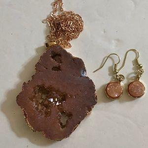 RoseGold Druzy Quartz Geode Slice Pendant/Earrings